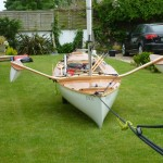 Trying out the pig rig in the B&B garden at Rye Harbour